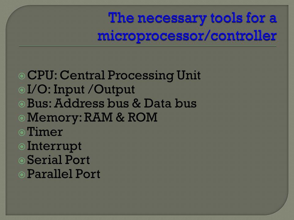 CPU General- Purpose Micro- processor RAMROM I/O Port Timer Serial COM Port Data Bus Address Bus General-Purpose Microprocessor System  CPU for Computers  No RAM, ROM, I/O on CPU chip itself  Example : Intel's x86, Motorola's 680x0 Many chips on mother's board General-purpose microprocessor