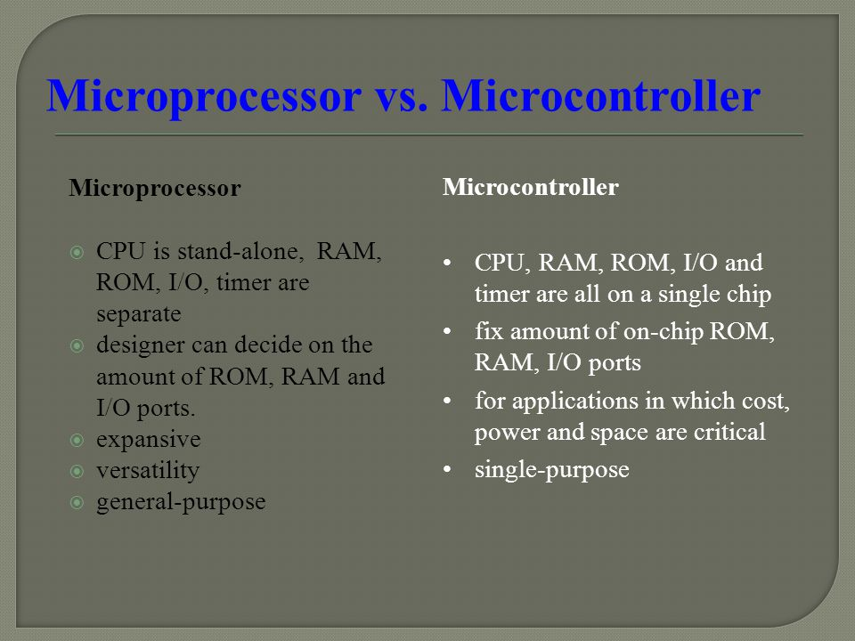 Microprocessor  CPU is stand-alone, RAM, ROM, I/O, timer are separate  designer can decide on the amount of ROM, RAM and I/O ports.