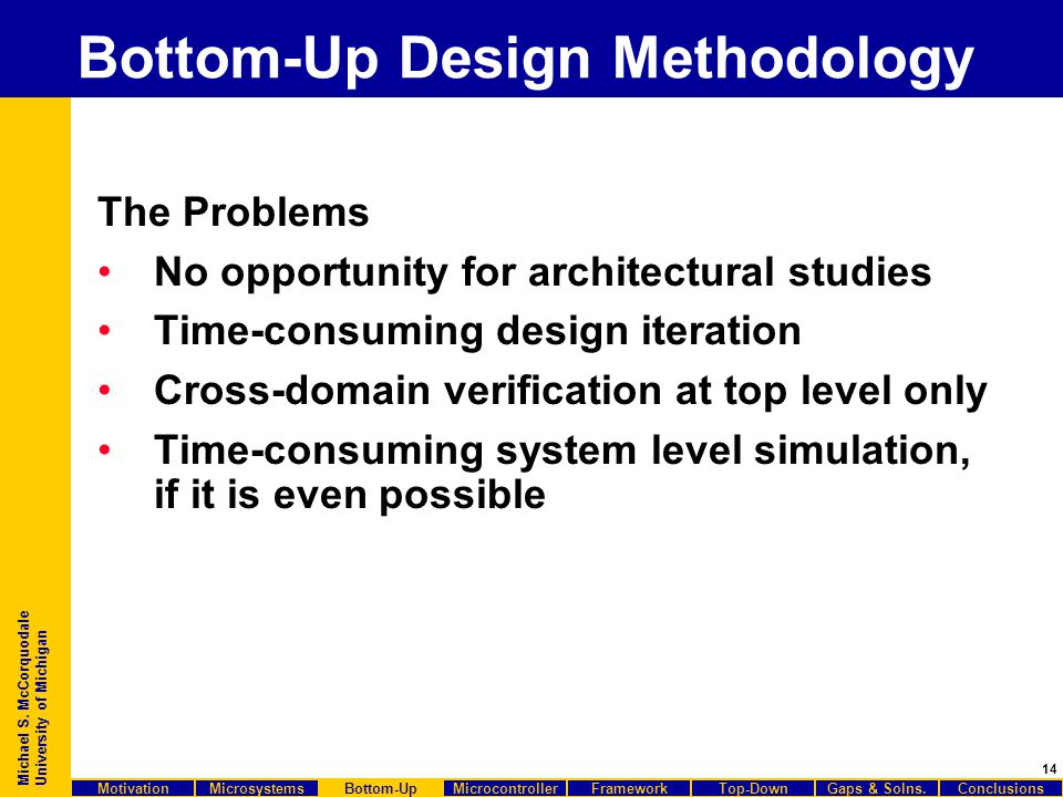 14 Michael S. McCorquodale University of Michigan Bottom-Up Design Methodology The Problems No opportunity for architectural studies Time-consuming de