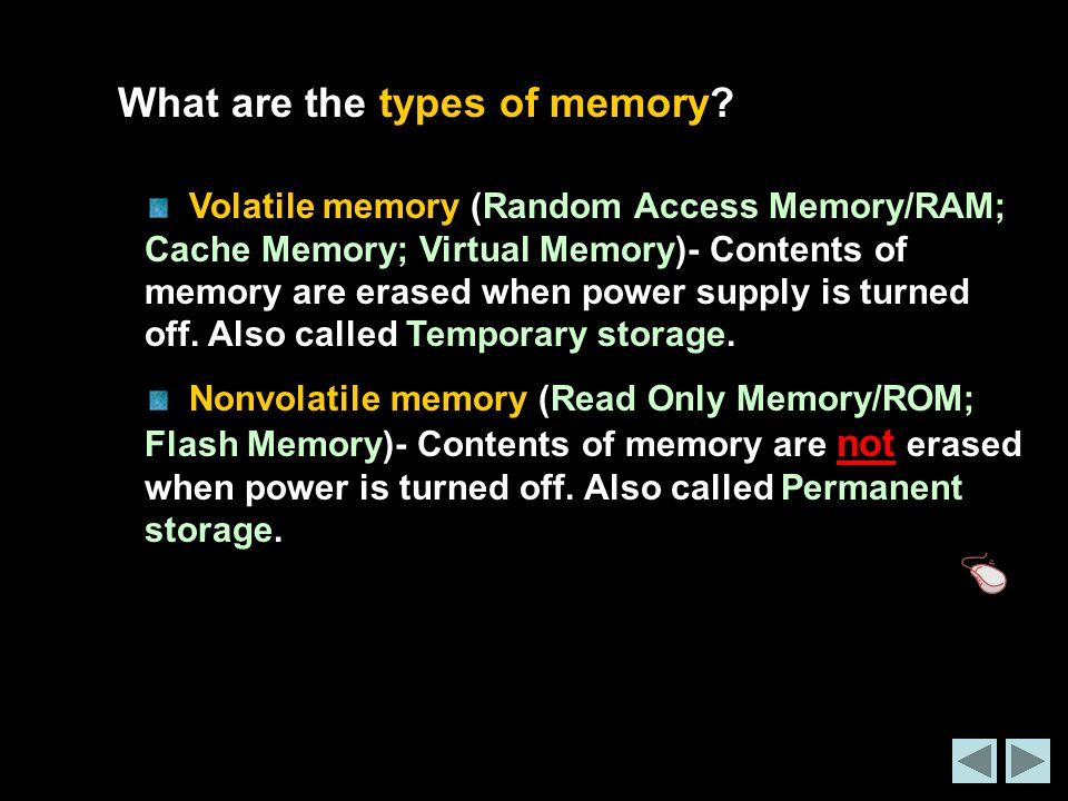 What are the types of memory.