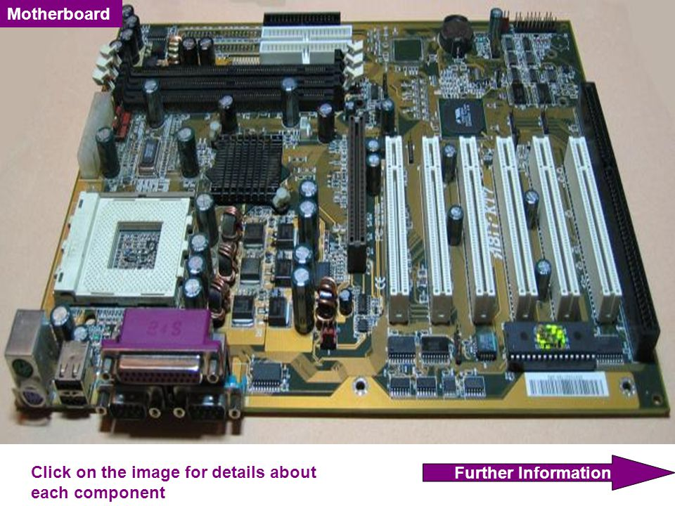 Motherboard Further Information Click on the image for details about each component