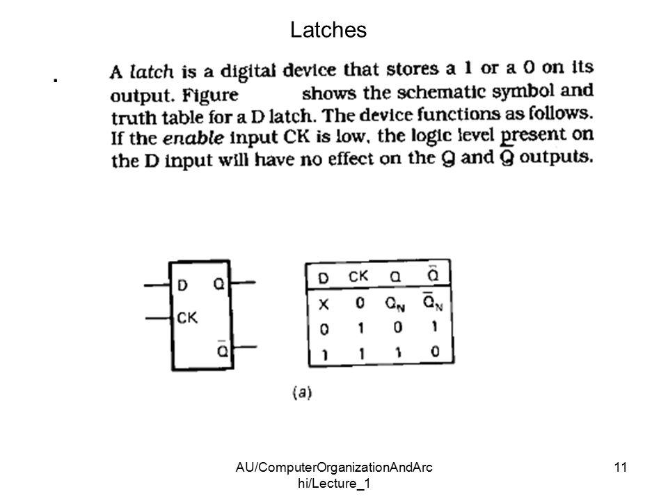 AU/ComputerOrganizationAndArc hi/Lecture_1 11 Latches.