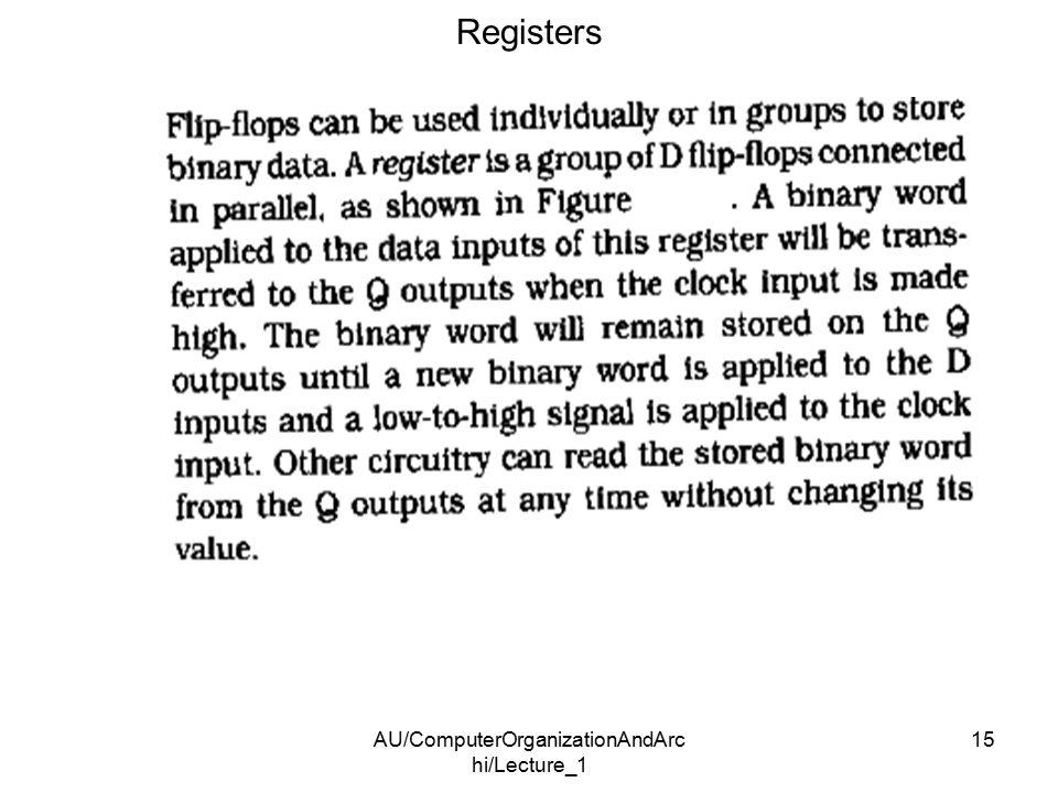 AU/ComputerOrganizationAndArc hi/Lecture_1 15 Registers