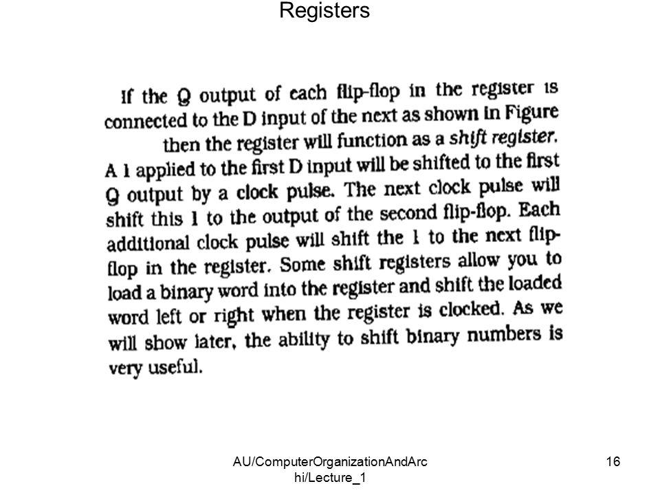 AU/ComputerOrganizationAndArc hi/Lecture_1 16 Registers