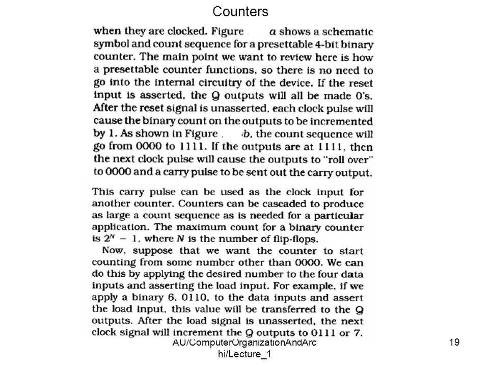 AU/ComputerOrganizationAndArc hi/Lecture_1 19 Counters