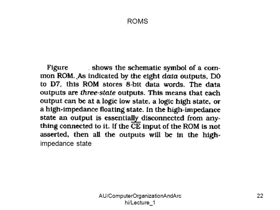 AU/ComputerOrganizationAndArc hi/Lecture_1 22 ROMS impedance state