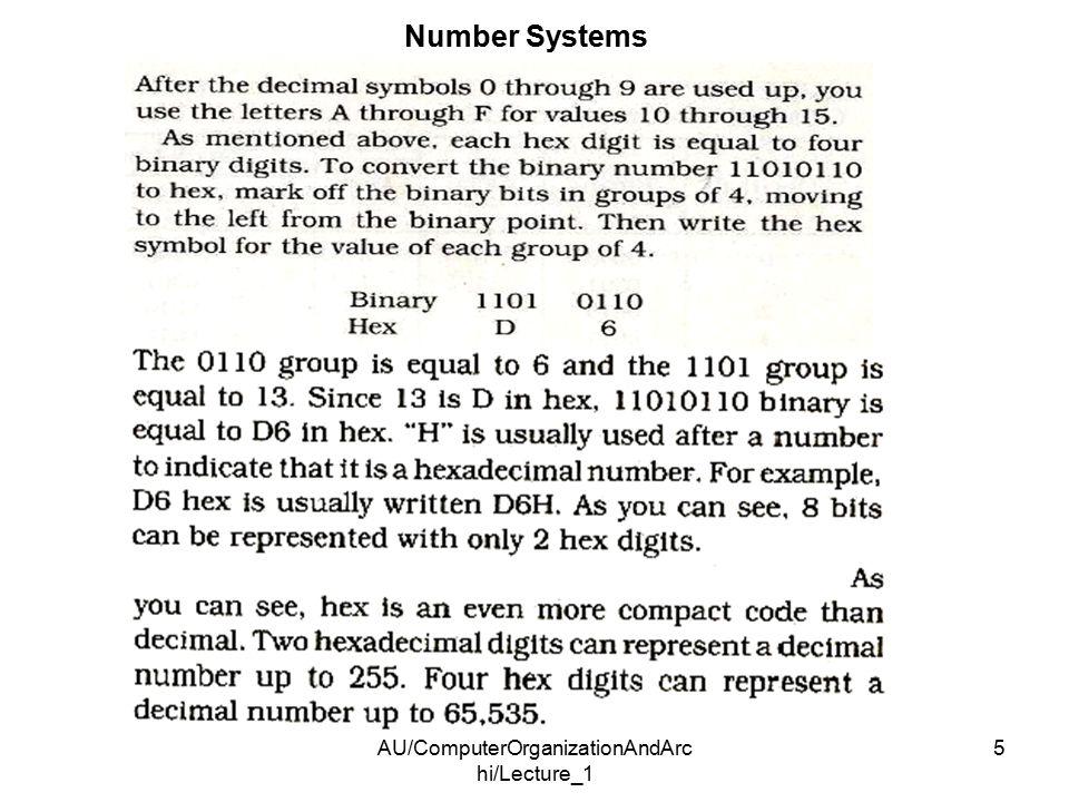 AU/ComputerOrganizationAndArc hi/Lecture_1 5 Number Systems