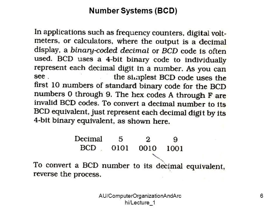 AU/ComputerOrganizationAndArc hi/Lecture_1 6 Number Systems (BCD)