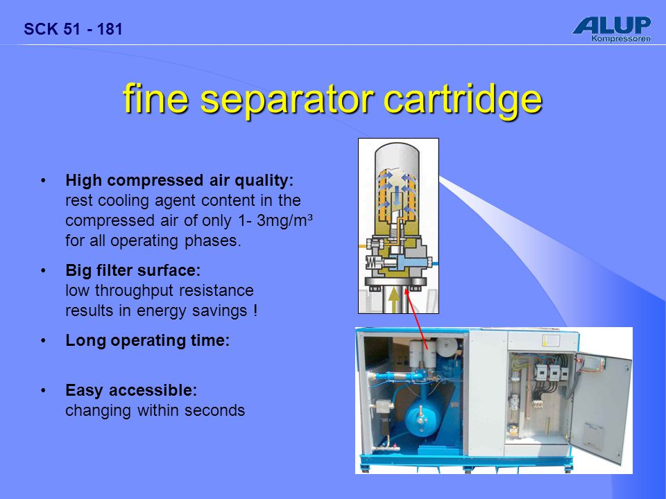SCK 51 - 181 fine separator cartridge High compressed air quality: rest cooling agent content in the compressed air of only 1- 3mg/m³ for all operating phases.