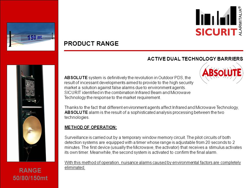 PRODUCT RANGE DIGITAL MICROWAVE DETECTORS SICURIT new DAVE represents a further technological step forward in outdoor perimeter protections.