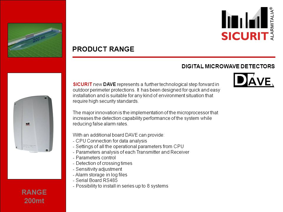 PRODUCT RANGE ANALOGICAL MICROWAVE DETECTORS RANGE 50/80mt SICURIT high-tech Microwave Detectors with planar antenna; The MES series consists of two parts, one transmitter and one receiver which, when mounted facing each other at different distances, up to the maximum range create a volumetric detection field able to detect intrusion attempts.