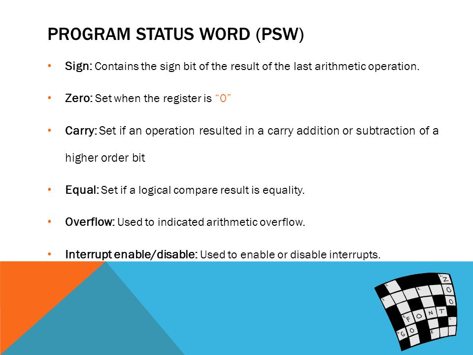 PROGRAM STATUS WORD (PSW) Sign: Contains the sign bit of the result of the last arithmetic operation.