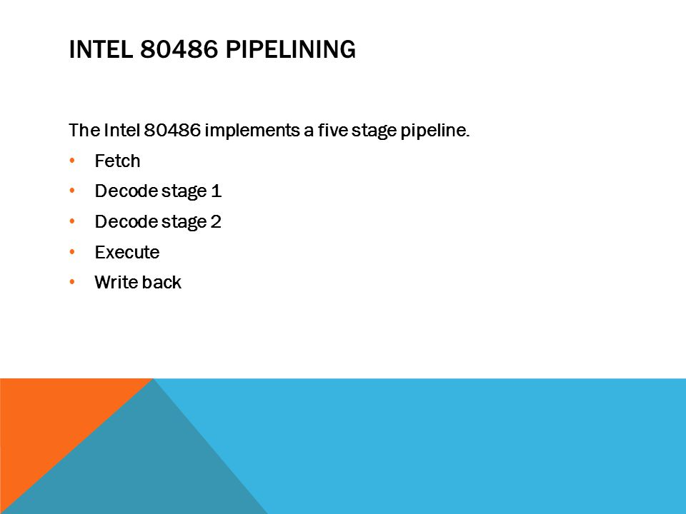 INTEL 80486 PIPELINING The Intel 80486 implements a five stage pipeline.