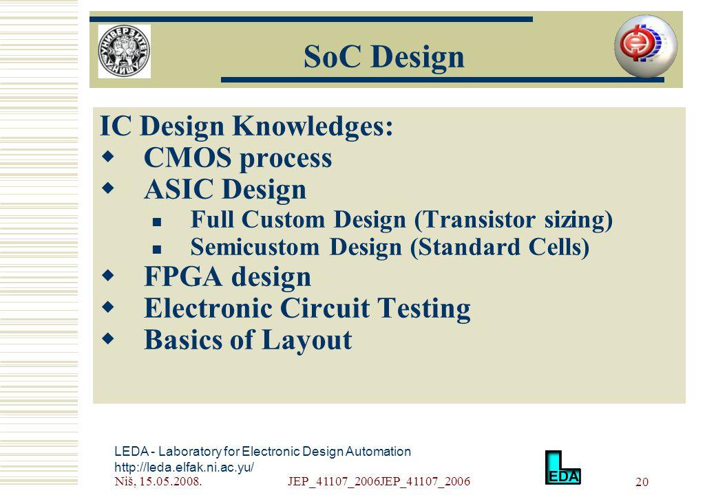 Niš, 15.05.2008.JEP_41107_2006JEP_41107_2006 20 LEDA - Laboratory for Electronic Design Automation http://leda.elfak.ni.ac.yu/ IC Design Knowledges:  CMOS process  ASIC Design Full Custom Design (Transistor sizing) Semicustom Design (Standard Cells)  FPGA design  Electronic Circuit Testing  Basics of Layout SoC Design