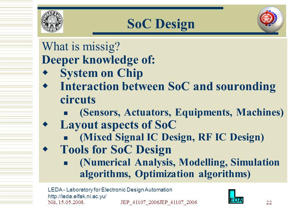 Niš, 15.05.2008.JEP_41107_2006JEP_41107_2006 22 LEDA - Laboratory for Electronic Design Automation http://leda.elfak.ni.ac.yu/ What is missig.