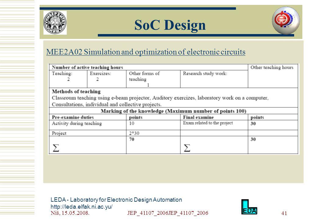 Niš, 15.05.2008.JEP_41107_2006JEP_41107_2006 41 LEDA - Laboratory for Electronic Design Automation http://leda.elfak.ni.ac.yu/ МЕE2A02 Simulation and optimization of electronic circuits SoC Design