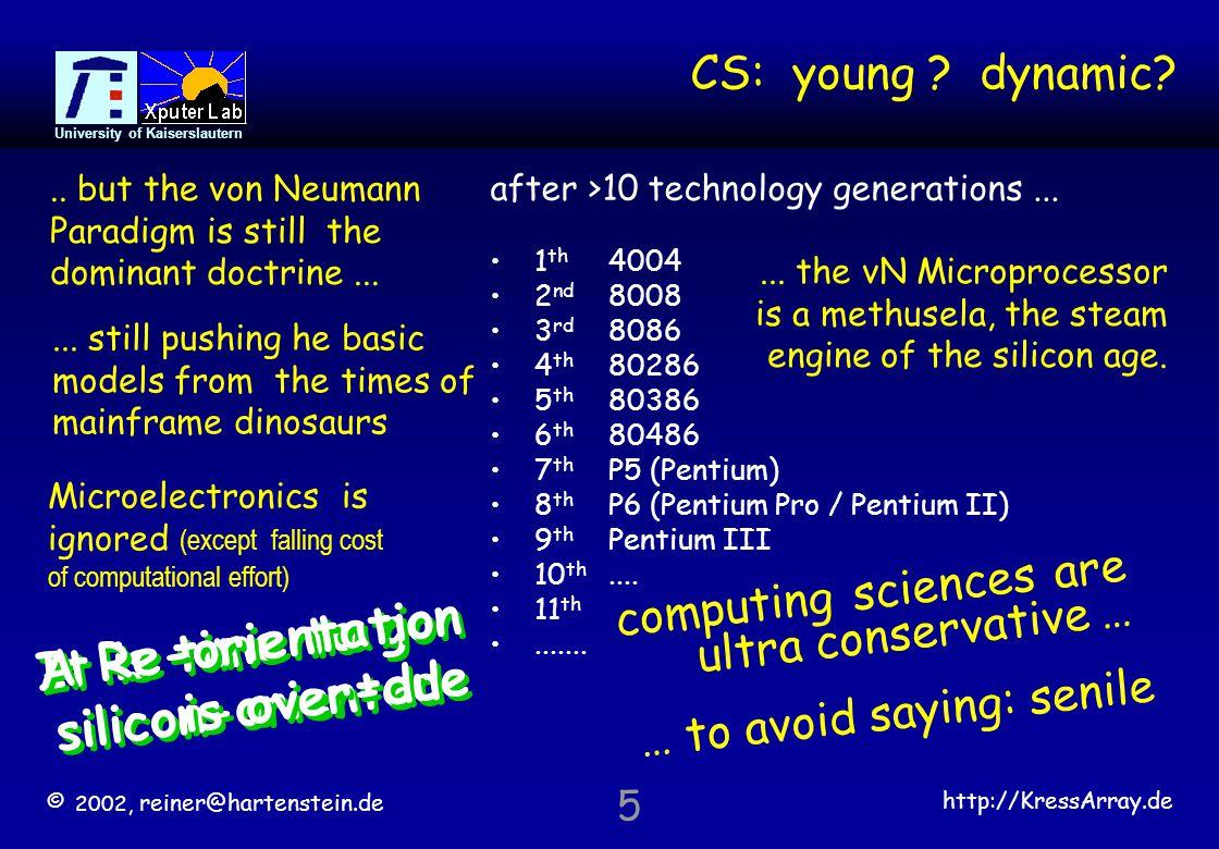 © 2002, reiner@hartenstein.de http://KressArray.de University of Kaiserslautern 16 Some soft CPU core examples Spartan-II16 bit DSPDSPuva16 FLEX10K30 or EPF6016 i8080AMy80 32-bitgr1050 16-bitgr1040 Altera – Mercury 8 bitNios Altera 22 D-MIPS 32-bit instr.