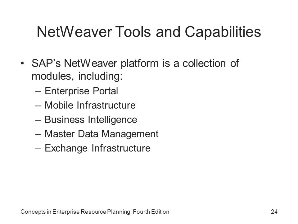 NetWeaver Tools and Capabilities SAP's NetWeaver platform is a collection of modules, including: –Enterprise Portal –Mobile Infrastructure –Business Intelligence –Master Data Management –Exchange Infrastructure Concepts in Enterprise Resource Planning, Fourth Edition24