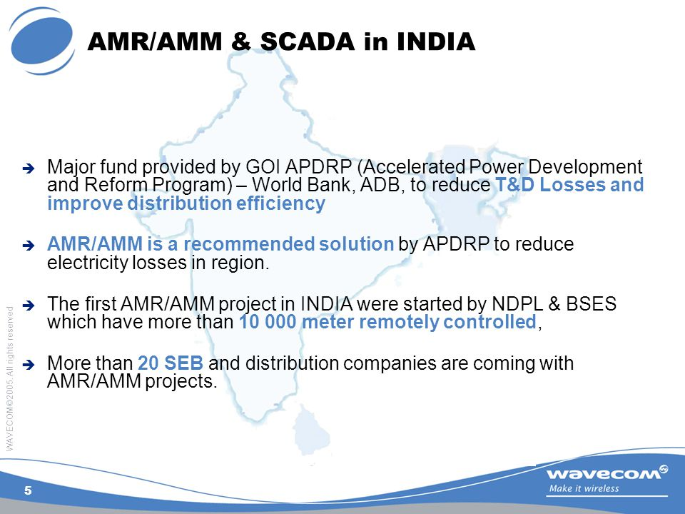 WAVECOM©2005. All rights reserved 5 AMR/AMM & SCADA in INDIA  Major fund provided by GOI APDRP (Accelerated Power Development and Reform Program) – W