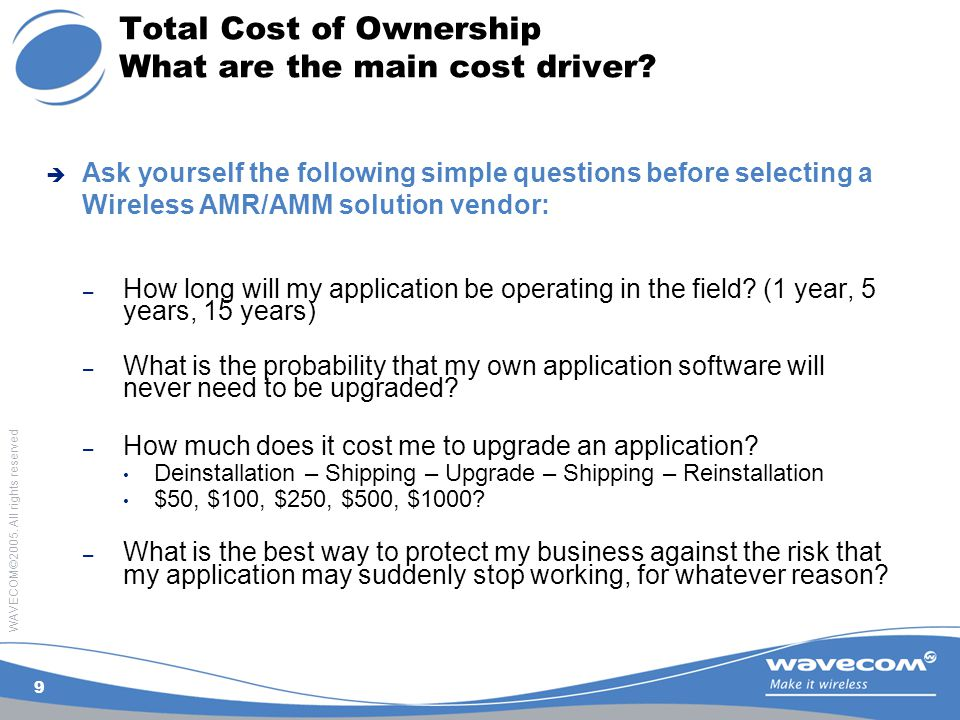WAVECOM©2005. All rights reserved 9 Total Cost of Ownership What are the main cost driver.