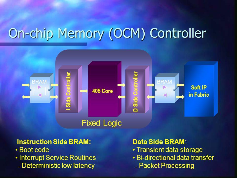 On-chip Memory (OCM) Controller 405 Core Data Side BRAM: Transient data storage Bi-directional data transfer – – Packet Processing D Side Controller B