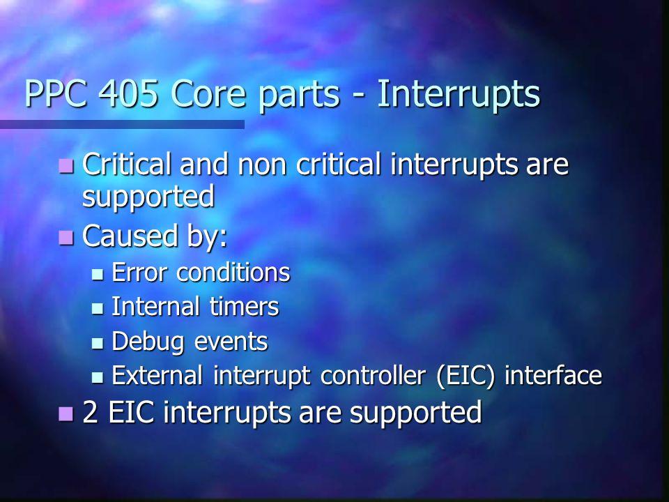 PPC 405 Core parts - Interrupts Critical and non critical interrupts are supported Critical and non critical interrupts are supported Caused by: Cause