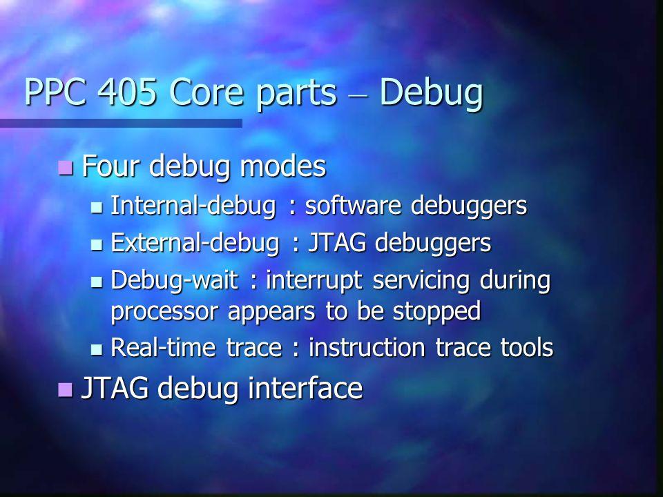 PPC 405 Core parts – Debug Four debug modes Four debug modes Internal-debug : software debuggers Internal-debug : software debuggers External-debug :