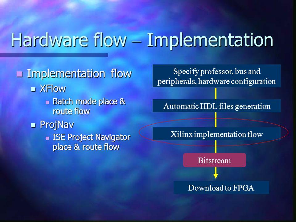 Hardware flow – Implementation Implementation flow Implementation flow XFlow XFlow Batch mode place & route flow Batch mode place & route flow ProjNav