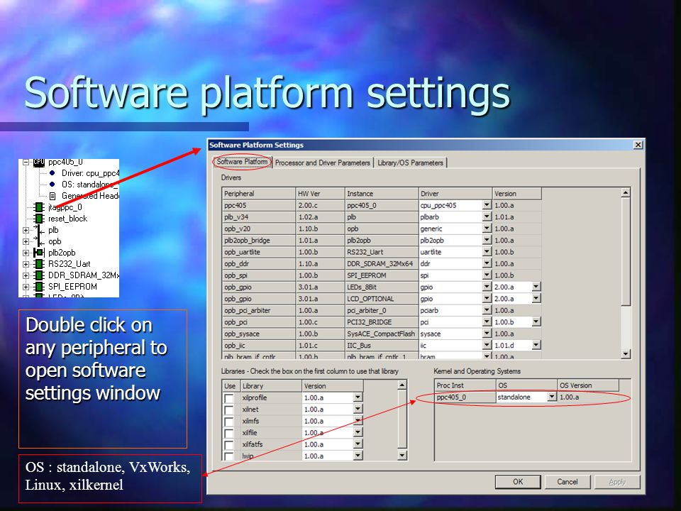 Software platform settings Double click on any peripheral to open software settings window OS : standalone, VxWorks, Linux, xilkernel