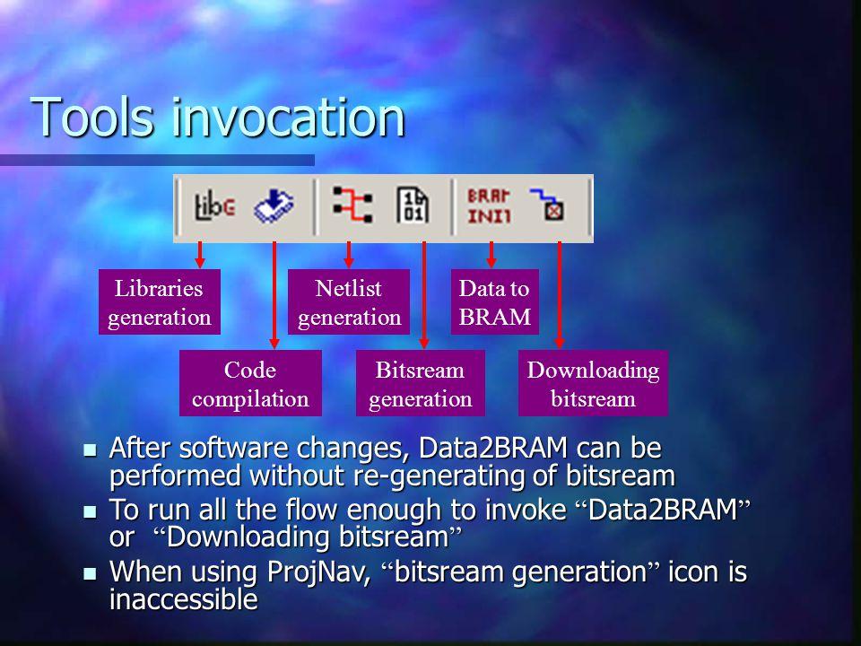 Tools invocation Libraries generation Code compilation Netlist generation Bitsream generation Data to BRAM Downloading bitsream After software changes