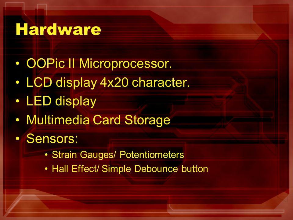 Hardware OOPic II Microprocessor. LCD display 4x20 character. LED display Multimedia Card Storage Sensors: Strain Gauges/ Potentiometers Hall Effect/