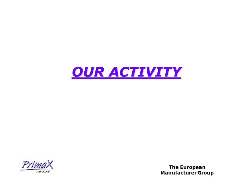 The European Manufacturer Group OUR ACTIVITY