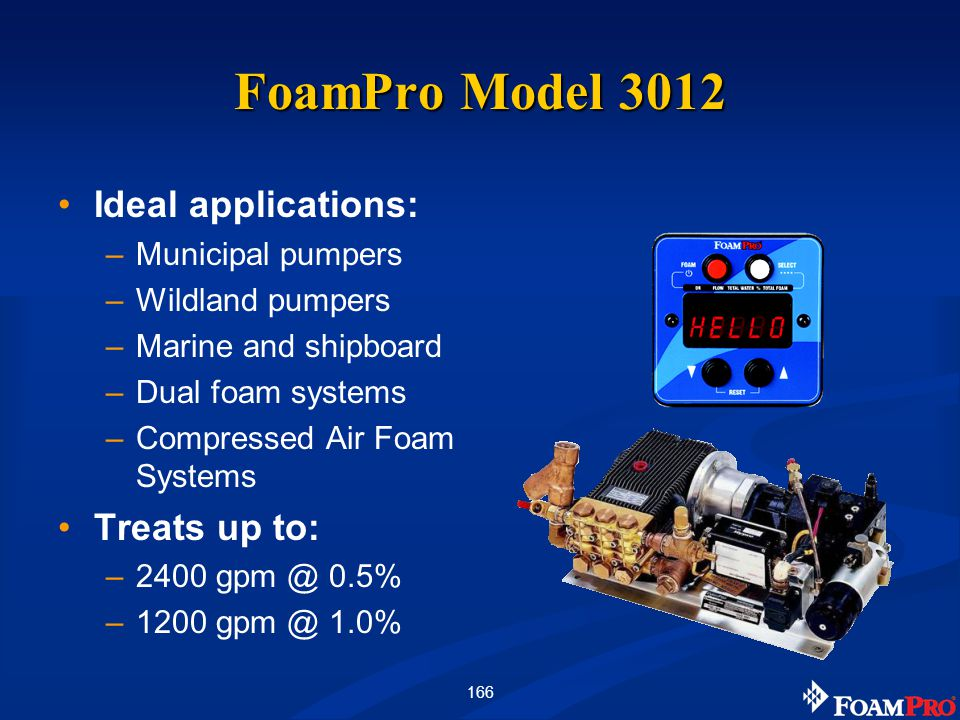 166 FoamPro Model 3012 Ideal applications: –Municipal pumpers –Wildland pumpers –Marine and shipboard –Dual foam systems –Compressed Air Foam Systems Treats up to: –2400 gpm @ 0.5% –1200 gpm @ 1.0%