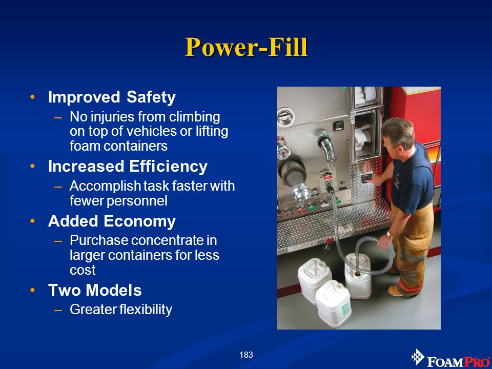 183 Power-Fill Improved Safety –No injuries from climbing on top of vehicles or lifting foam containers Increased Efficiency –Accomplish task faster w
