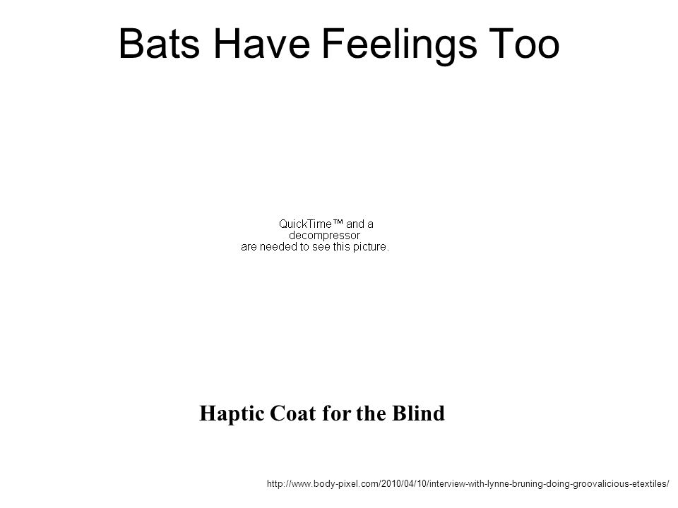 http://www.body-pixel.com/2010/04/10/interview-with-lynne-bruning-doing-groovalicious-etextiles/ Bats Have Feelings Too Haptic Coat for the Blind