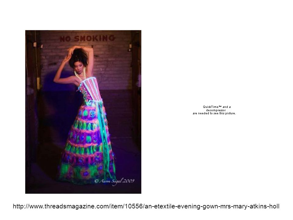 Mrs Mary Atkins Holl http://www.threadsmagazine.com/item/10556/an-etextile-evening-gown-mrs-mary-atkins-holl