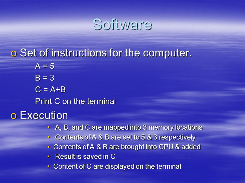 Software oSet of instructions for the computer.