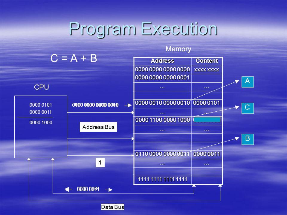 Program Execution AddressContent 0000 0000 0000 0000 xxxx xxxx 0000 0000 0000 0001 …… 0000 0010 0000 0010 0000 0101 …… 0000 1100 0000 1000 0000 1000 …