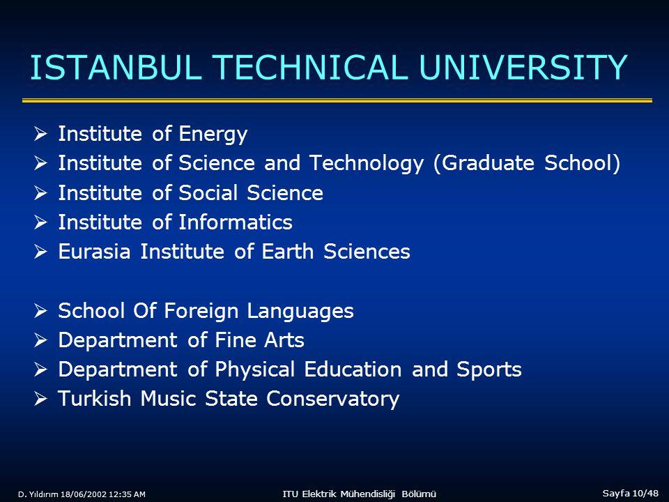 D. Yıldırım 18/06/2002 12:35 AM Sayfa 10/48 ITU Elektrik Mühendisliği Bölümü ISTANBUL TECHNICAL UNIVERSITY  Institute of Energy  Institute of Scienc