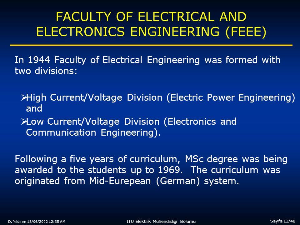 D. Yıldırım 18/06/2002 12:35 AM Sayfa 13/48 ITU Elektrik Mühendisliği Bölümü FACULTY OF ELECTRICAL AND ELECTRONICS ENGINEERING (FEEE) In 1944 Faculty