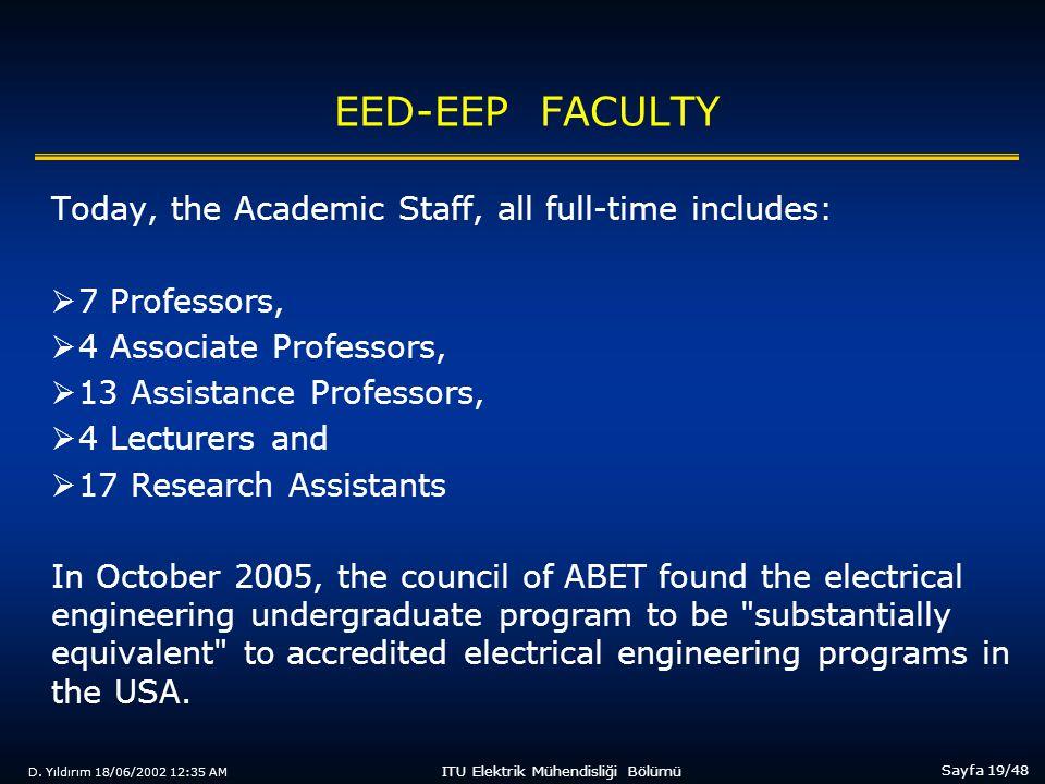D. Yıldırım 18/06/2002 12:35 AM Sayfa 19/48 ITU Elektrik Mühendisliği Bölümü EED-EEP FACULTY Today, the Academic Staff, all full-time includes:  7 Pr