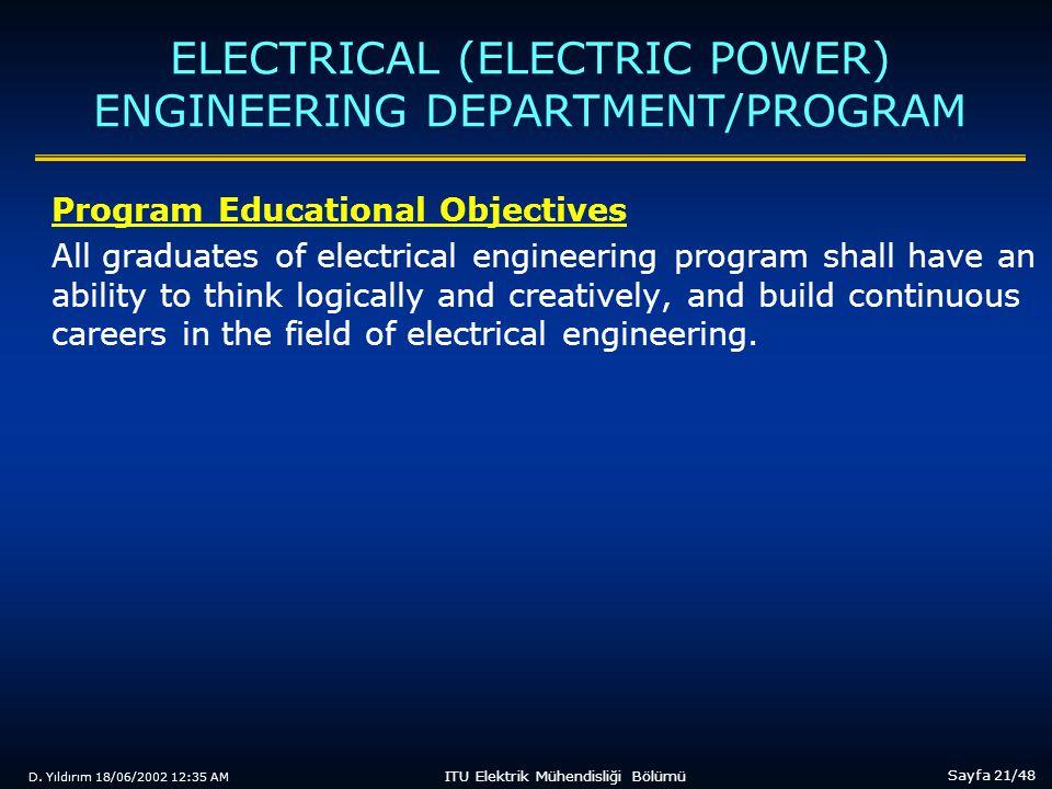 D. Yıldırım 18/06/2002 12:35 AM Sayfa 21/48 ITU Elektrik Mühendisliği Bölümü ELECTRICAL (ELECTRIC POWER) ENGINEERING DEPARTMENT/PROGRAM Program Educat