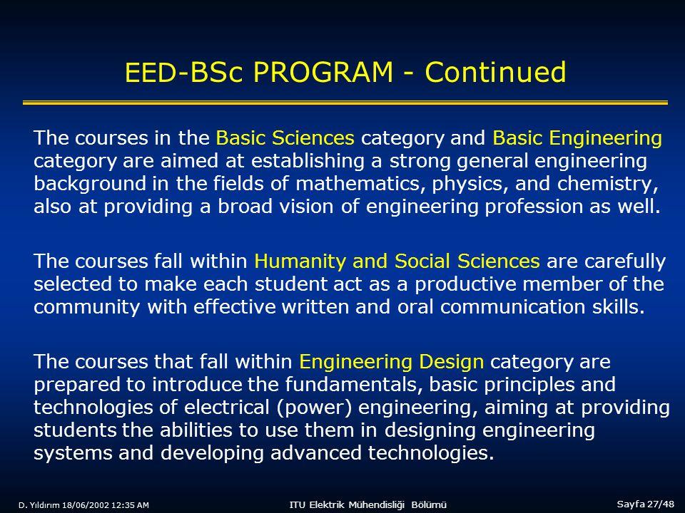 D. Yıldırım 18/06/2002 12:35 AM Sayfa 27/48 ITU Elektrik Mühendisliği Bölümü EED- BSc PROGRAM - Continued The courses in the Basic Sciences category a
