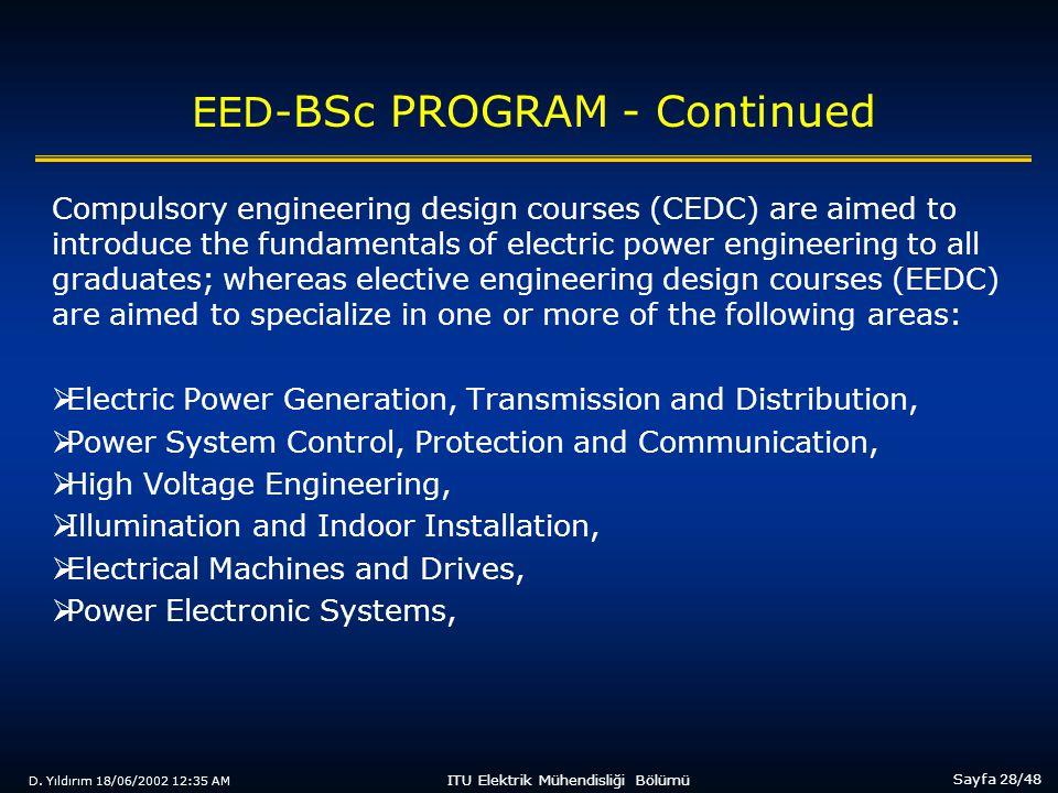 D. Yıldırım 18/06/2002 12:35 AM Sayfa 28/48 ITU Elektrik Mühendisliği Bölümü EED- BSc PROGRAM - Continued Compulsory engineering design courses (CEDC)