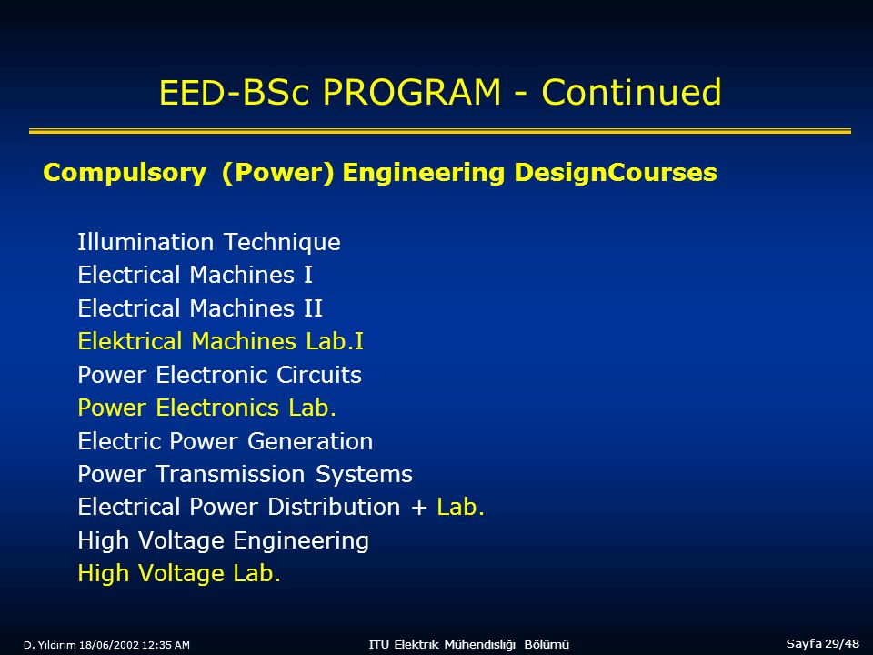 D. Yıldırım 18/06/2002 12:35 AM Sayfa 29/48 ITU Elektrik Mühendisliği Bölümü EED- BSc PROGRAM - Continued Compulsory (Power) Engineering DesignCourses