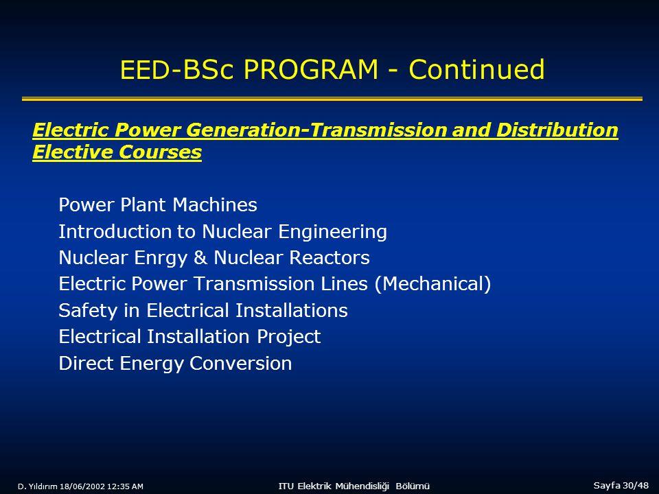 D. Yıldırım 18/06/2002 12:35 AM Sayfa 30/48 ITU Elektrik Mühendisliği Bölümü EED- BSc PROGRAM - Continued Electric Power Generation-Transmission and D