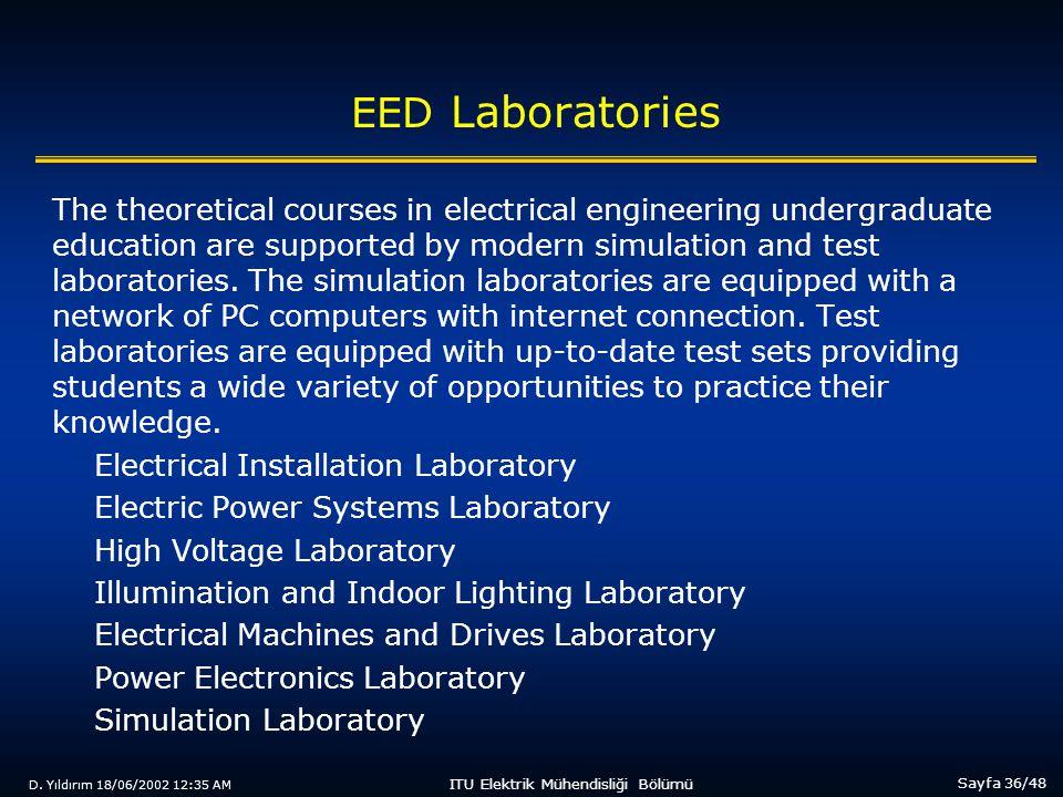 D. Yıldırım 18/06/2002 12:35 AM Sayfa 36/48 ITU Elektrik Mühendisliği Bölümü EED Laboratories The theoretical courses in electrical engineering underg
