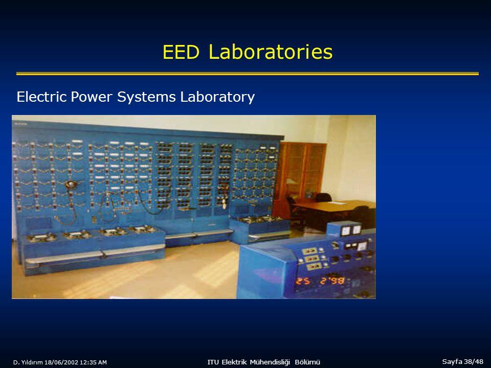 D. Yıldırım 18/06/2002 12:35 AM Sayfa 38/48 ITU Elektrik Mühendisliği Bölümü EED Laboratories Electric Power Systems Laboratory