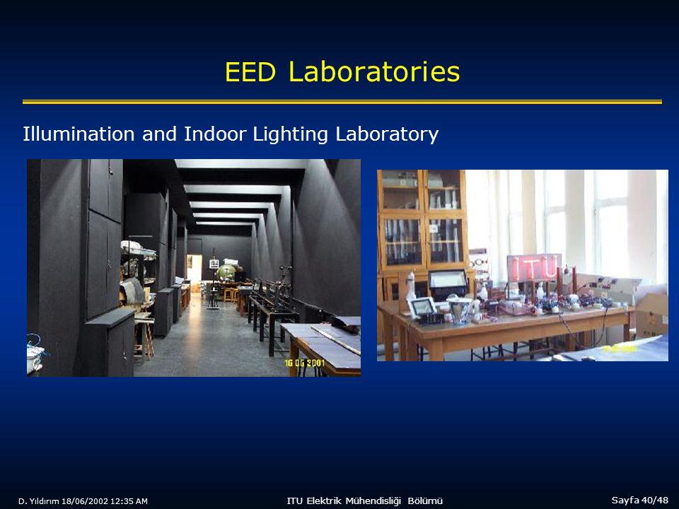D. Yıldırım 18/06/2002 12:35 AM Sayfa 40/48 ITU Elektrik Mühendisliği Bölümü EED Laboratories Illumination and Indoor Lighting Laboratory