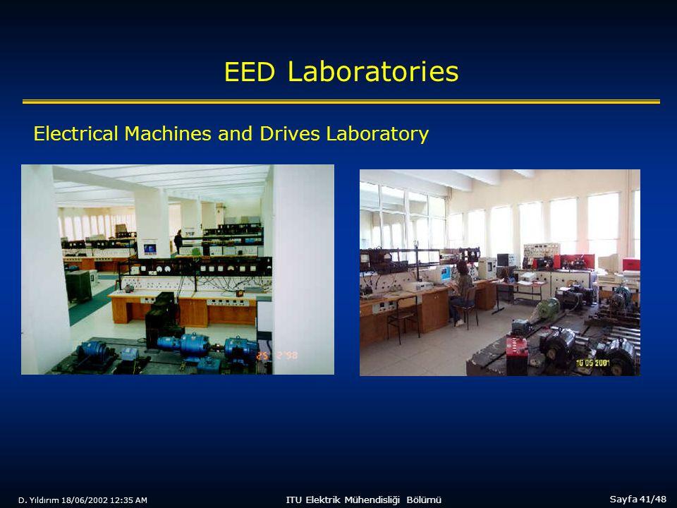 D. Yıldırım 18/06/2002 12:35 AM Sayfa 41/48 ITU Elektrik Mühendisliği Bölümü EED Laboratories Electrical Machines and Drives Laboratory